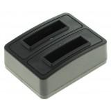 Dubbelladdare för 2 batterier Pentax D-Li8, D-Li85 och D-Li95
