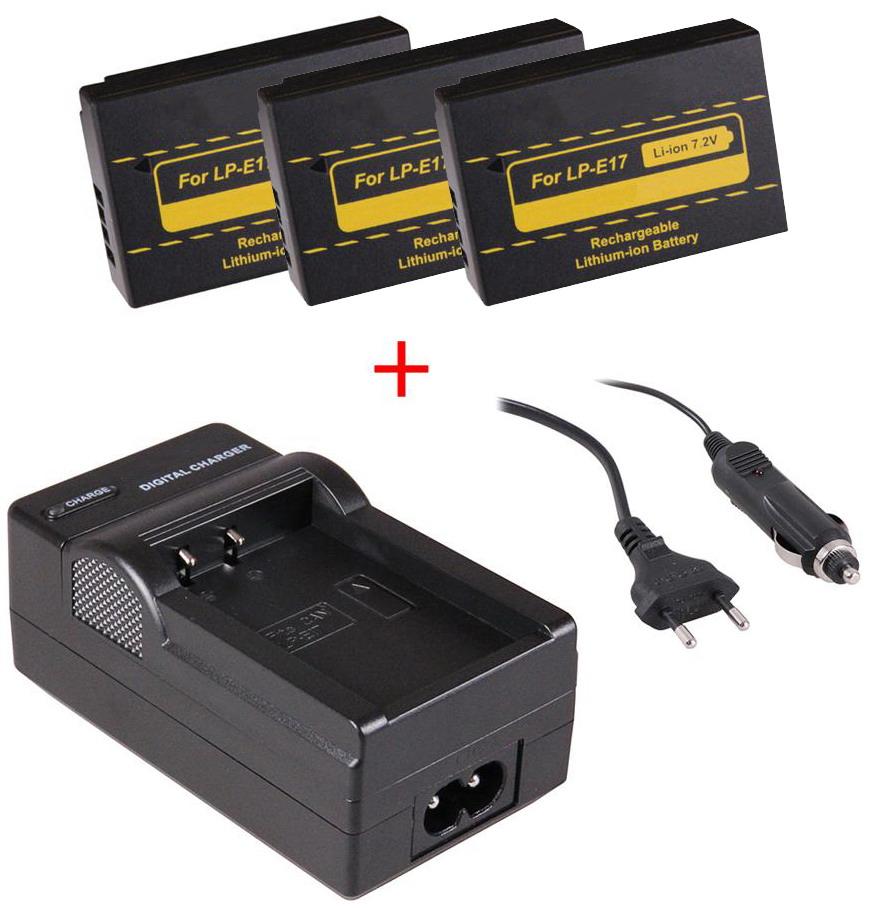 Bild av 3 st kamerabatterier LP-E17 för Canon + laddare